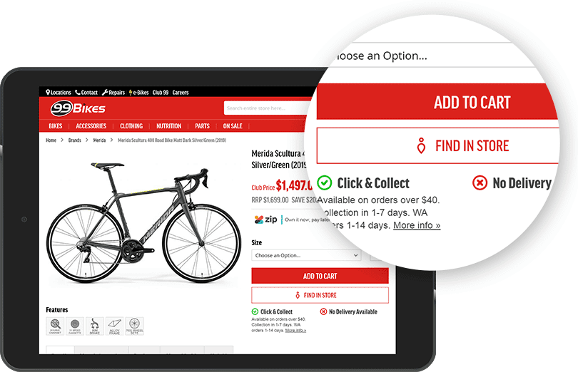 stockinstore improves click and collect for 99 Bikes
